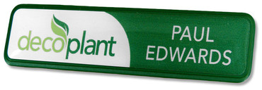 Prestige plastic name badges - Green border and white / green background | www.namebadgesinternational.ae